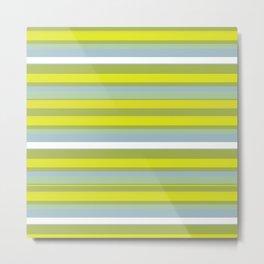 Happy Spring Green Yellow Stripes Metal Print