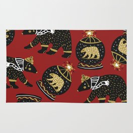 Funky Black Bear Gold White Winter Pattern Rug
