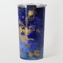 Gold And Blue Indigo Malachite Marble Travel Mug