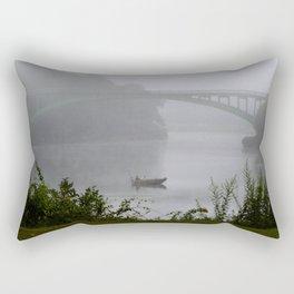 Foggy Fishing Day on the Delaware River Rectangular Pillow