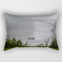 Foggy Fishing Day on the Delaware River Rectangular Pillow