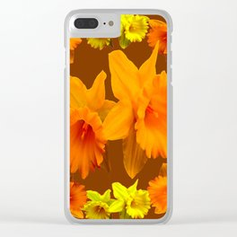 YELLOW SPRING DAFFODILS & COFFEE BROWN COLOR ART Clear iPhone Case