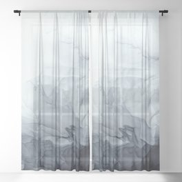 Gray Black Gradient Flowing Abstract Painting Sheer Curtain