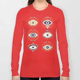 Evil Eye Collection on White Long Sleeve T-shirt