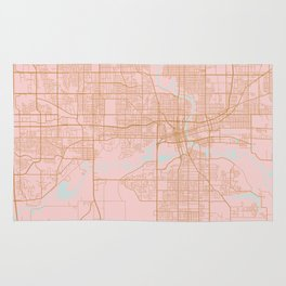 Pink and gold Des Moines map, Iowa Rug