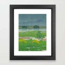 Kawase Hasui Vintage Japanese Woodblock Print Flooded Asian Rice Field Mountain Parallax Landscape Framed Art Print