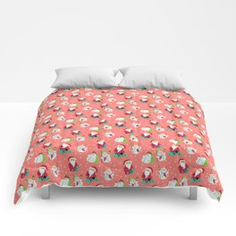 Pink Winter Forest with Cute Snowmen and Santas Comforters