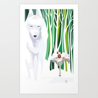 princess mononoke Art Prints featuring Princess Mononoke by youcoucou