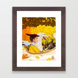 Autumn Drive with Borzoi Framed Art Print