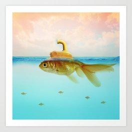 Submarine Goldfish Art Print