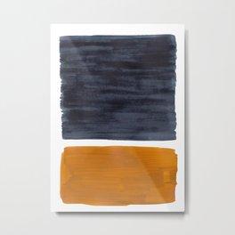 Minimalist Mid Century Modern Colorful Color Field Rothko Navy Blue Yellow Ochre Metal Print