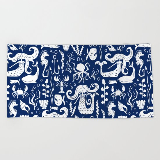 Under The Sea Navy Blue Beach Towel