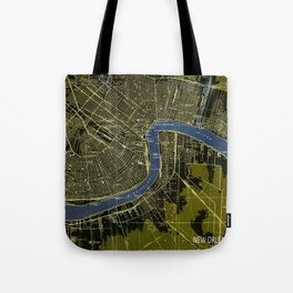 New Orleans Louisiana 1932 GREEN AND BLUE VINTAGE OLD MAP Tote Bag