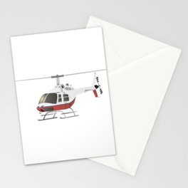 White and Red Helicopter Stationery Cards