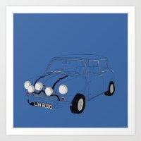 The Italian Job Blue Mini Cooper Art Print