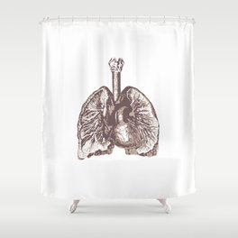 Fill Your Lungs. Vintage Sepia Print Illustration Shower Curtain