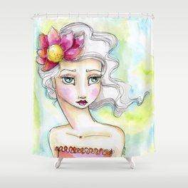 Lotus Flower Girl Shower Curtain