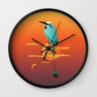 oklahoma Wall Clocks featuring Oklahoma Bird by HK Chik