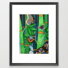 Bamboo & Butterflies Framed Art Print