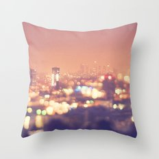 Everyone's a Star. Los Angeles skyline at night photograph. Throw Pillow