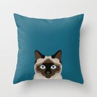 ezra koenig Throw Pillows featuring Ezra - Siamese Cat, Cute Kitten Retro Cat Art cell phone case, siamese, cute cat by PetFriendly
