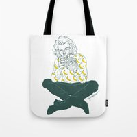 cyrilliart Tote Bags featuring Banana Boy by Cyrilliart