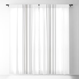 Farmhouse Ticking Stripes in Gray on White Blackout Curtain
