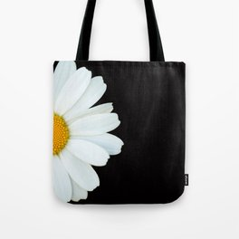 Hello Daisy - White Flower Black Background #decor #society6 #buyart Tote Bag