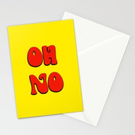 Oh no in Red and Yellow bright and Quirky Stationery Cards