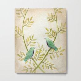 Celadon Birds Metal Print