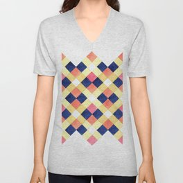 Colorful pink yellow navy blue watercolor geometrical pattern Unisex V-Neck