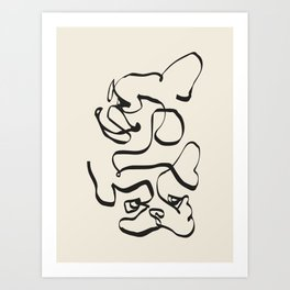 Abstract line frenchie Art Print