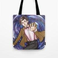 dr who Tote Bags featuring Dr. Who  by Synth Obscura Art