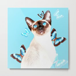 Siamese And Butterflies #society6 #buyart #decor #lifestyle Metal Print