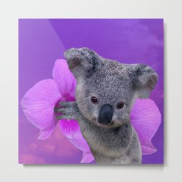 Koala and Orchid Metal Print