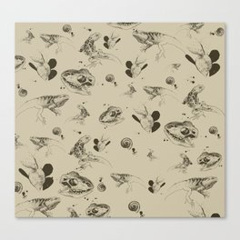 Lizards pattern (sepia) Canvas Print