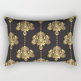 Gold damask flowers and pearls on dark background Rectangular Pillow