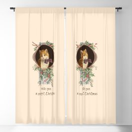 PURRFECT CHRISTMAS greeting card Blackout Curtain