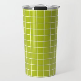 Acid Green - Green Color - White Lines Grid Pattern Travel Mug