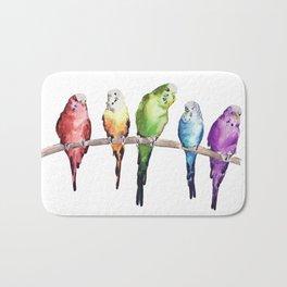 Rainbow Budgie birds Bath Mat