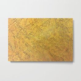 Golden texture background. Vintage gold. Metal Print