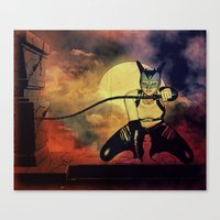 catwoman Canvas Prints featuring catwoman by Ancello