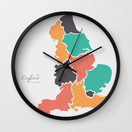 England Map with modern round shapes Wall Clock