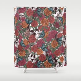 Roses, Skulls and Butterflies Shower Curtain