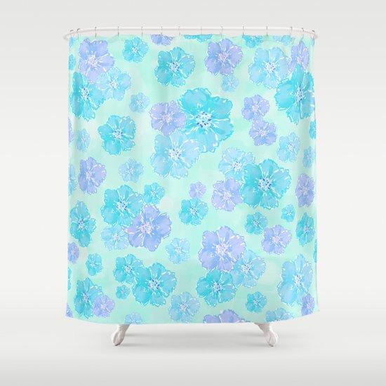 Blossoms Aqua Blue Mint Shower Curtain
