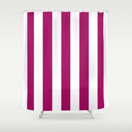 Jazzberry jam violet - solid color - white vertical lines pattern Shower Curtain