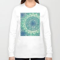 navy Long Sleeve T-shirts featuring Emerald Doodle by micklyn