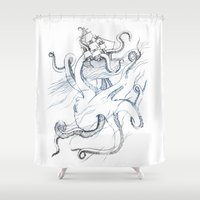 kraken Shower Curtains featuring Kraken by Kyle Naylor