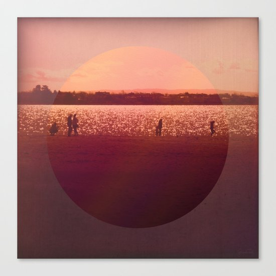 Vintage Coral Sunset, Winter Beach Canvas Print