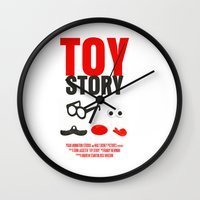 toy story Wall Clocks featuring Toy Story Movie Poster by FunnyFaceArt